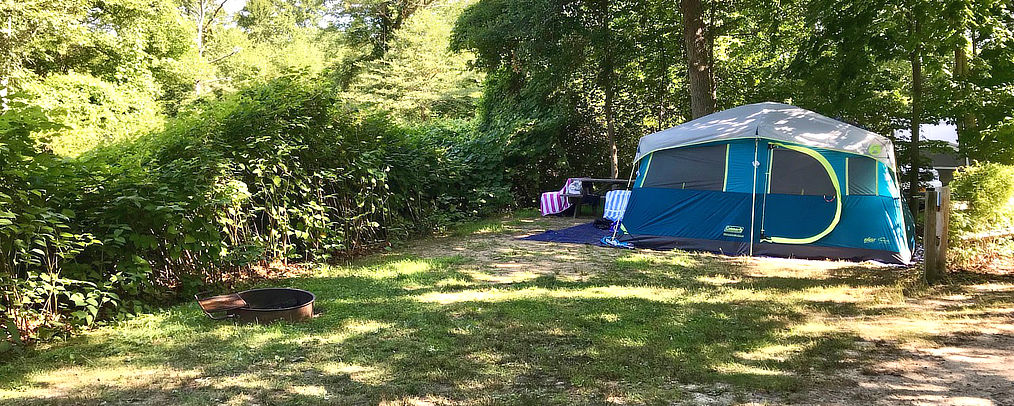 Tent site at Shady Knoll Campground